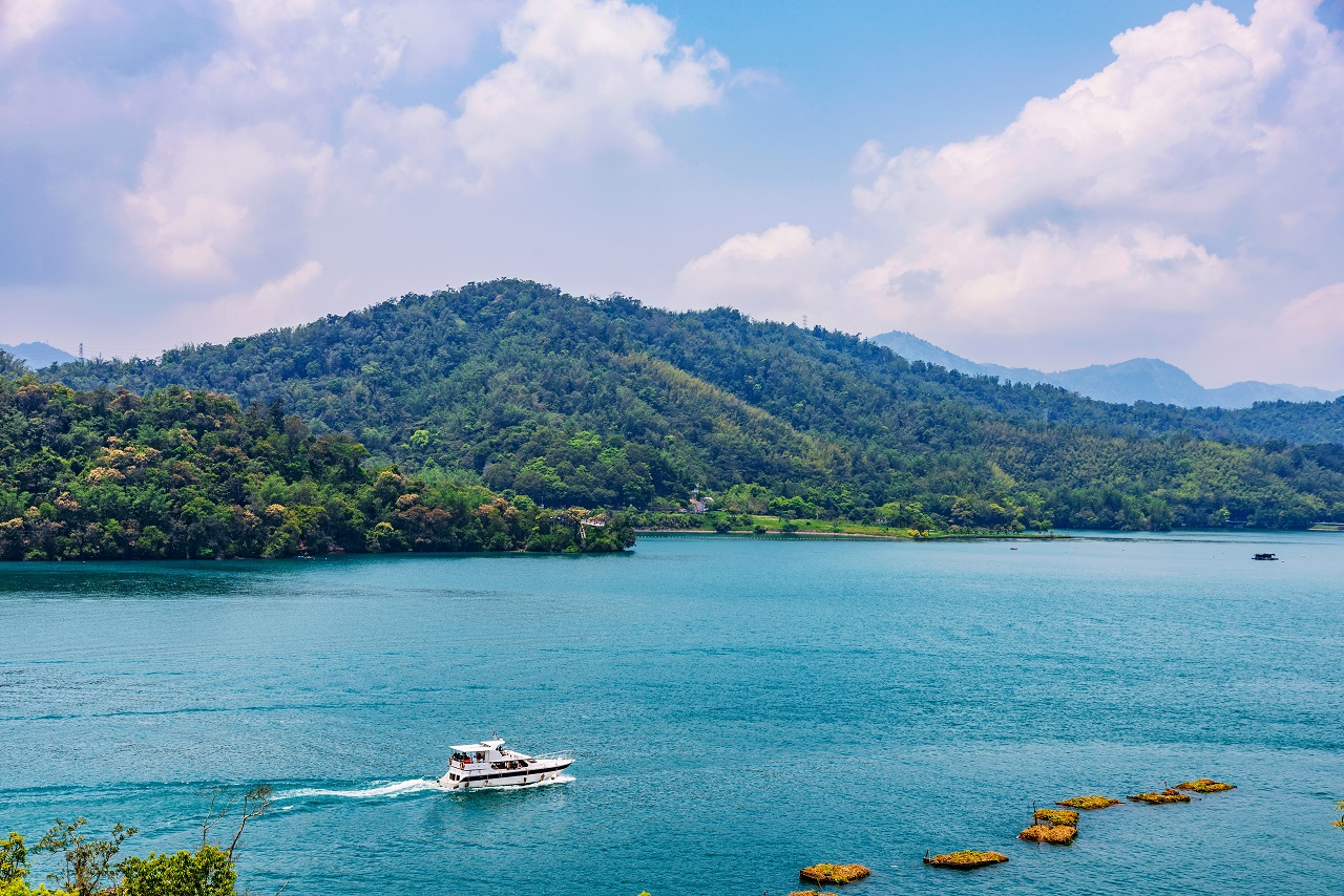 View of Sun Moon Lake with a boat